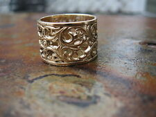 14KT Yellow Gold Filigree Floral Design Wide Cigar Band Ring.....NEW Size 5