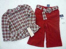 RALPH LAUREN Infant Girl's Holiday Outfit / Pants & Top/ Size 12M NEW w/Tag