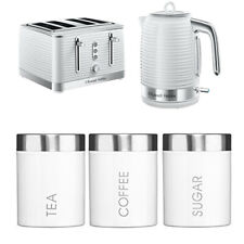Kettle Toaster White Tea Coffee Sugar Canister Set Russell Hobbs Cheap Gift