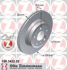 Zimmermann Rear Brake Discs Pair Fits For BMW X3 E83 2004-11 150.3432.20 Coat Z