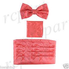 New In Box Brand Q Paisley Cummerbund Bowtie Hankie Set Wedding Prom Coral
