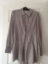 Next Long Sleeve Cotton Long Shirt Brown Beige Stripe Great Condition