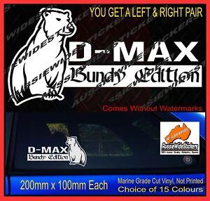DMAX D-MAX Bundy Edition Bundaberg Rum Bear Aussie Sticker for Isuzu 200mm PAIR