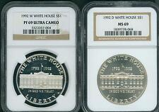 1992-W & 1992-D WHITE HOUSE SILVER DOLLAR NGC MS69 PF69 PR69 2-COINS SET !!!!!!!