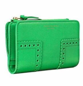 NWT TORY BURCH 36766 block-T broque smartphone wallet, MSRP $195 Green