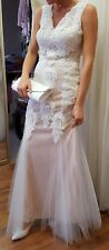 Blush pink and lace detailed wedding  Evening/special occasion dress. Size 10.
