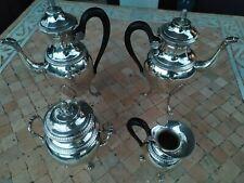 Ercuis, Service à café Empire 4pièces en métal argenté . ancien .