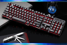 Three Color Backlit Cyborg Soldier Ergonomic Usb Gaming Keyboard Blue/Red/Purple