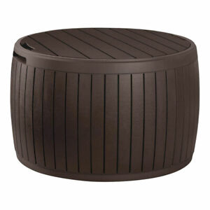 Keter Circa 37gal Round Patio Box Stylish Storage Table and Seating, Brown Resin
