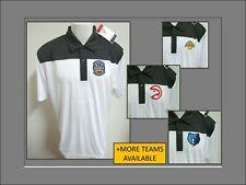 New Sz S-2XL White/Gray Nba Mens Polyester #42J Golf Polo Shirt
