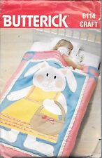 Butterick cot quilt craft sewing pattern UNCUT 6114 bunny rabbit ruffle applique