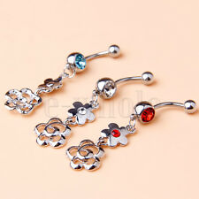 3pcs New Design Stainless Steel Body Jewelry Belly Ring Double Flower 3-Color EW