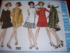 VTG 1960s VOGUE #2197-LADIES GROOVY DROP WAIST DAY or EVENING DRESS PATTERN 12uc