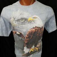 Bald Eagle The Mountain Blue Tie Dye USA Graphic T Shirt 100% Cotton XL X-Large