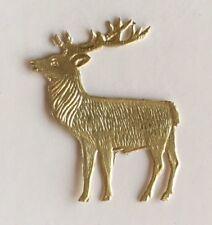 """Vintage 1960s German Gold Foiled Deer Reindeer Embossed Die Cut Decoration, 1"""""""