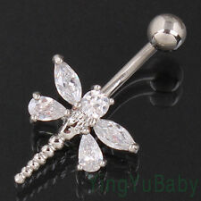 Navel stud Clear Dragonfly Zircon Belly ring Body Piercing jewelry 14G 316L
