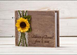 Rustic Wedding Guest Book, Sunflower Wedding Guestbook Album, Wooden Guest Book