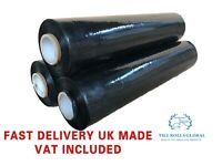 2 plastic pallet wrapshrink wrap cling film 500MM X 250M X 23MU  long BLACK