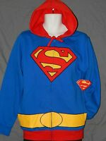 NEW Superman Zip Up Hoodie Sweatshirt Costume Jacket Shirt Men's Size S M L 2XL