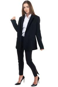 RRP €120 GUESS Crepe Blazer Jacket Size L Black Velour Trim Notch Lapel Collar