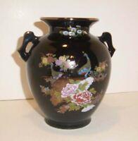 Vintage Black Oriental Japanese Vase, Gold Trim, Double Handled, Narcissus Lily