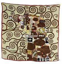 """Luxurious Handmade 22""""x22"""" 100% Silk Twill Scarf Wrap w/ Klimt's """"The Embrace"""""""