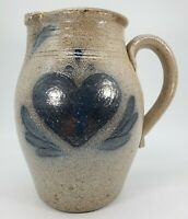 Rowe Pottery Works 7 inch Pitcher w/ Blue Heart