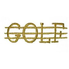 IRON ON PATCH APPLIQUE - GOLF WORD IN METALLIC GOLD