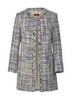 Mantel Kurzmantel Damen Gehrock Bouclé Farbe blau-gemustert 42 44 46 48 50 52 54