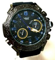Mens Fashion Watch Milano MC45391, Black Silicone Band Water Resistant 1 ATM