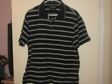 Men's Golden Bear Black & White Striped Polo Shirt (L)