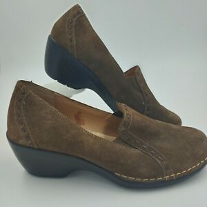 SOFTSPOTS Womens Shoes Brown Suede Slip On Size 9 Loafer Heels comfort career
