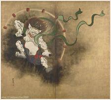 Japanese antique screen painting Big size Heavy color Mythic Figure Thunder God