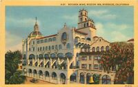 Linen Postcard CA J346 Rotunda Wing Mission Inn Hotel Pepper Trees Riverside