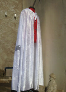 oversized White Crushed Velvet  hooded cloak sleeves. Snow Queen witch