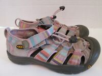 KEEN Pink Stripe Multi Color Hiking Sandals Waterproof Shoes Girls size 2 Youth