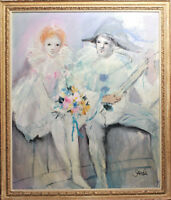 "SANDI ""PIERROT & PIERRETTE"" SIGNED OIL ON CANVAS"