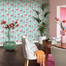 Rasch Barbara Becker Flamingo Wallpaper-Cerceta 479706 Panel de Madera