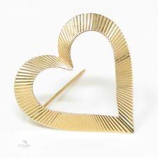 NYJEWEL Tiffany & Co 14k Yellow Gold Ridged Heart Pin Brooch