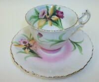 Vintage Occupied Japan Demitasse Teacup Saucer Set - Iris Flowers