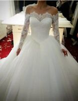 UK White Ivory Off Shoulder Lace Long Sleeve Ball Gown Wedding Dresses Size 6-22