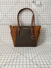 NWT Michael Kors Charlotte Top Zip Tote Brown Signature Shoulder Bag