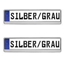 2x Kennzeichenhalter Nummernschildhalter in Silber Grau EU Norm VORNE + HINTEN