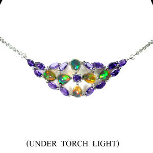 Unheated Pear Fire Opal 8x6mm Amethyst 925 Sterling Silver Necklace 19 Inches