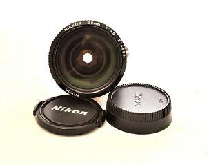 NEAR MINT CLASSIC NIKON NIKKOR 28 mm 1:3.5 AI Prime Lens w/Caps - Japan