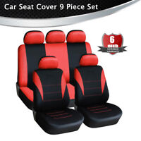 Black & Red Breathable Mesh Fabric 5-Seat Car Seat Cover Universal All Seasons