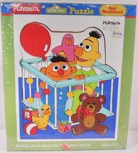 NEW PLAYSKOOL SESAME STREET BABY BERT AND ERNIE WOODBOARD PUZZLE (1986)