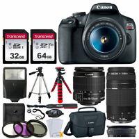 Canon EOS Rebel T7 Camera + 18-55mm & 75-300mm Lens + 96gb + Bag Tripod Bundle