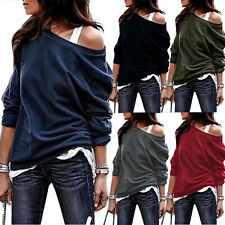 Women Sexy Off-Shoulder Long Sleeve T-Shirts Tops Casual Pullover Loose Sweater