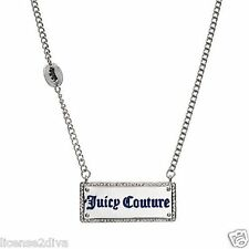 """JUICY COUTURE SILVERTONE NECKLACE BAR STYLE JUICY 18"""" BRAND NEW FREE USA SHIP"""